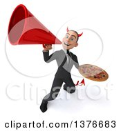 Clipart Of A 3d Young White Devil Business Man Holding A Pizza On A White Background Royalty Free Illustration