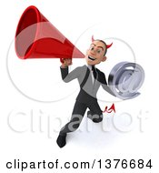 Clipart Of A 3d Young White Devil Business Man Holding An Email Arobase At Symbol On A White Background Royalty Free Illustration