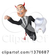 Clipart Of A 3d Young White Devil Business Man Holding A Tooth And Flying On A White Background Royalty Free Illustration