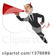 Clipart Of A 3d Young White Devil Business Man Using A Megaphone On A White Background Royalty Free Illustration