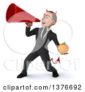 Clipart Of A 3d Young White Devil Business Man Holding A Navel Orange On A White Background Royalty Free Illustration