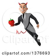 Clipart Of A 3d Young White Devil Business Man Holding A Strawberry On A White Background Royalty Free Illustration