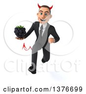 Clipart Of A 3d Young White Devil Business Man Holding A Blackberry On A White Background Royalty Free Illustration