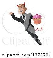 Clipart Of A 3d Young White Devil Business Man Holding A Cupcake On A White Background Royalty Free Illustration
