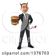Clipart Of A 3d Young White Devil Business Man Holding A Double Cheeseburger On A White Background Royalty Free Illustration