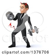 Clipart Of A 3d Young White Devil Business Man Working Out With Dumbbells On A White Background Royalty Free Illustration