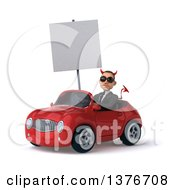 Clipart Of A 3d Young White Devil Business Man Driving A Red Convertible Car On A White Background Royalty Free Illustration