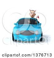 Clipart Of A 3d Young White Devil Business Man Driving A Blue Convertible Car On A White Background Royalty Free Illustration