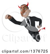 Clipart Of A 3d Young Black Devil Business Man Flying On A White Background Royalty Free Illustration