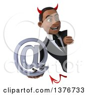 Clipart Of A 3d Young Black Devil Business Man Holding An Email Symbol On A White Background Royalty Free Illustration