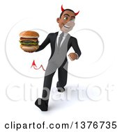 Clipart Of A 3d Young Black Devil Business Man Holding A Double Cheeseburger On A White Background Royalty Free Illustration