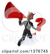 Clipart Of A 3d Young Black Devil Business Man Holding A Question Mark On A White Background Royalty Free Illustration