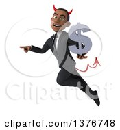 Clipart Of A 3d Young Black Devil Business Man Holding A Dollar Symbol On A White Background Royalty Free Illustration