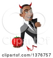 Clipart Of A 3d Young Black Devil Business Man Holding A Tomato On A White Background Royalty Free Illustration