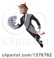 Clipart Of A 3d Young Black Devil Business Man Holding A Euro Symbol On A White Background Royalty Free Illustration