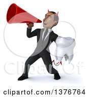 Clipart Of A 3d Young Black Devil Business Man Holding A Tooth On A White Background Royalty Free Illustration