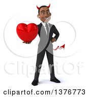 Clipart Of A 3d Young Black Devil Business Man Holding A Heart On A White Background Royalty Free Illustration