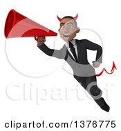 Clipart Of A 3d Young Black Devil Business Man Flying With A Megaphone On A White Background Royalty Free Illustration