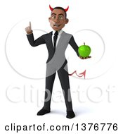Clipart Of A 3d Young Black Devil Business Man Holding A Green Apple On A White Background Royalty Free Illustration