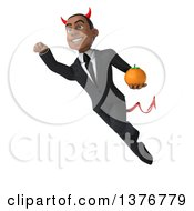 Clipart Of A 3d Young Black Devil Business Man Holding A Navel Orange And Flying On A White Background Royalty Free Illustration
