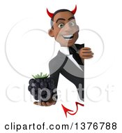 Clipart Of A 3d Young Black Devil Business Man Holding A Blackberry On A White Background Royalty Free Illustration