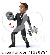 Clipart Of A 3d Young Black Devil Business Man Working Out With Dumbbells On A White Background Royalty Free Illustration