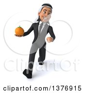 Clipart Of A 3d Young Arabian Business Man Holding A Navel Orange On A White Background Royalty Free Illustration