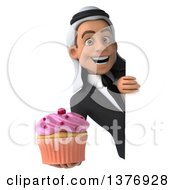 Clipart Of A 3d Young Arabian Business Man Holding A Cupcake On A White Background Royalty Free Illustration