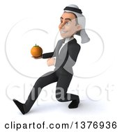 Clipart Of A 3d Young Arabian Business Man Holding An Orange On A White Background Royalty Free Illustration