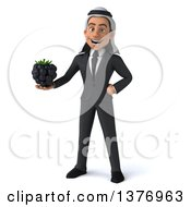 Clipart Of A 3d Young Arabian Business Man Holding A Blackberry On A White Background Royalty Free Illustration