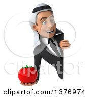 Clipart Of A 3d Young Arabian Business Man Holding A Tomato On A White Background Royalty Free Illustration