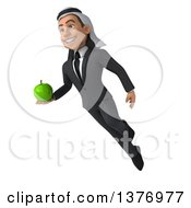 Clipart Of A 3d Young Arabian Business Man Holding A Green Apple On A White Background Royalty Free Illustration