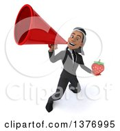 Clipart Of A 3d Young Arabian Business Man Holding A Strawberry On A White Background Royalty Free Illustration