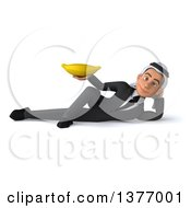 Clipart Of A 3d Young Arabian Business Man Holding A Banana On A White Background Royalty Free Illustration
