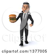 Clipart Of A 3d Young Arabian Business Man Holding A Double Cheeseburger On A White Background Royalty Free Illustration