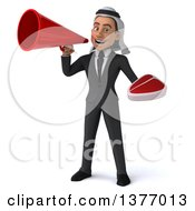 Clipart Of A 3d Young Arabian Business Man Holding A Beef Steak On A White Background Royalty Free Illustration