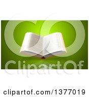 Clipart Of A 3d Open Book On A Green Background Royalty Free Illustration by Julos