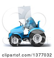 Poster, Art Print Of 3d Bluebird Farmer Holding A Blank Sign And Operating A Blue Tractor On A White Background