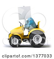 Poster, Art Print Of 3d Bluebird Farmer Holding A Blank Sign And Operating A Yellow Tractor On A White Background