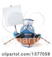 3d Happy Blue Sailor Fish In A Row Boat On A White Background