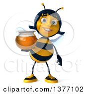 Clipart Of A 3d Female Bee Holding A Honey Jar On A White Background Royalty Free Illustration by Julos