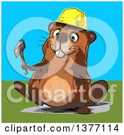 Clipart Of A Cartoon Construction Beaver Holding An Axe On A Blue And Green Background Royalty Free Illustration