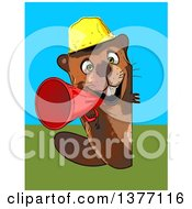 Clipart Of A Cartoon Construction Beaver Using A Megaphone On A Blue And Green Background Royalty Free Illustration