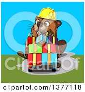 Clipart Of A Cartoon Construction Beaver Pushing Gifts On A Dolly On A Blue And Green Background Royalty Free Illustration
