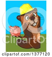 Clipart Of A Cartoon Construction Beaver Holding A Piggy Bank On A Blue And Green Background Royalty Free Illustration