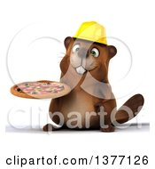 Clipart Of A 3d Construction Beaver Holding A Pizza On A White Background Royalty Free Illustration