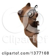 Clipart Of A 3d Bespectacled Brown Bear On A White Background Royalty Free Illustration
