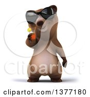 Poster, Art Print Of 3d Brown Bear Drinking Tea On A White Background