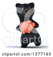 Clipart Of A 3d Bespectacled Black Bear Walking And Holding A Piggy Bank On A White Background Royalty Free Illustration