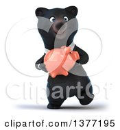 Clipart Of A 3d Black Business Bear Walking And Holding A Piggy Bank On A White Background Royalty Free Illustration